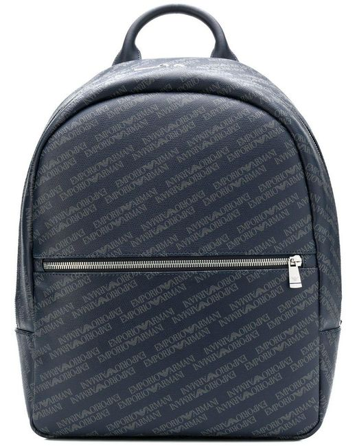 Emporio Armani - Blue All Over Logo Backpack for Men - Lyst