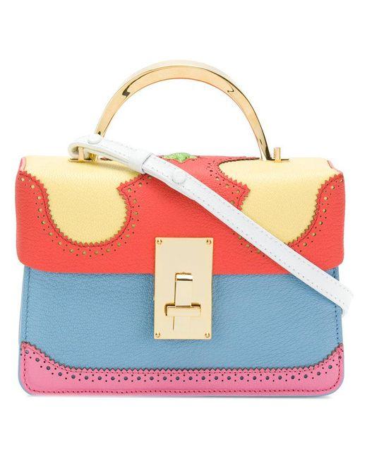 The Volon - Multicolor Brogue Detail Contrast Panel Handbag - Lyst