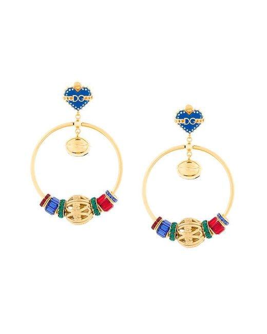 Dolce & Gabbana | Multicolor Sacred Heart Hoop Earrings | Lyst
