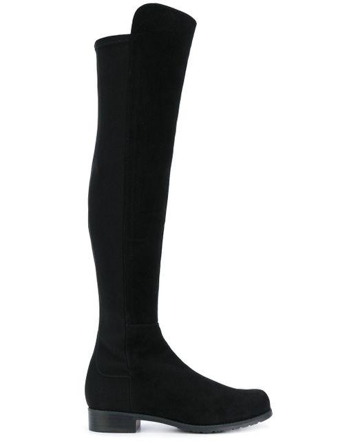 Stuart Weitzman - Black Panelled Knee Boots - Lyst