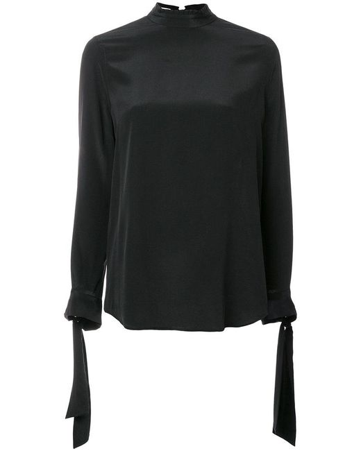 Equipment   Black Tied Neck And Sleeve Blouse   Lyst