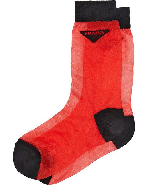 Prada - Red Light Nylon Socks - Lyst