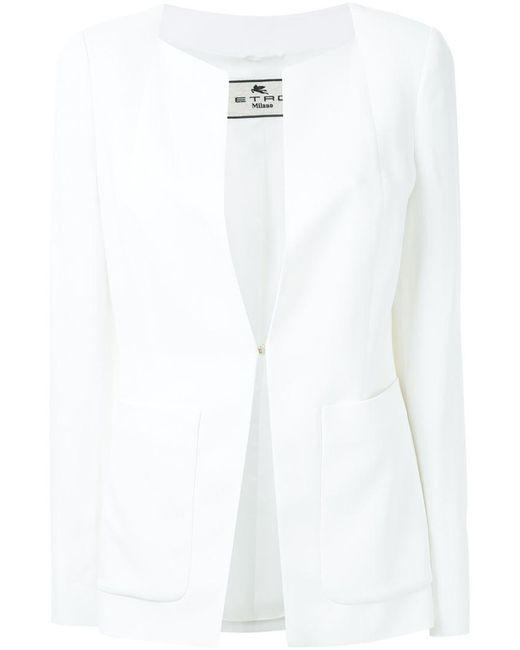 Etro - White Open Front Blazer - Lyst