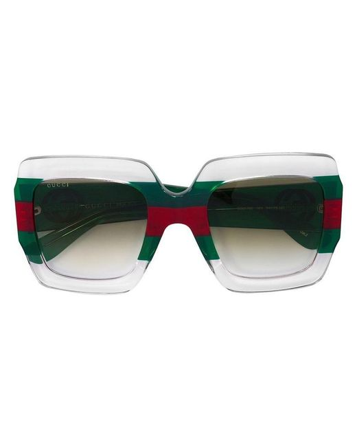 afe1953569 Gucci - Green Square Frame Sunglasses - Lyst ...