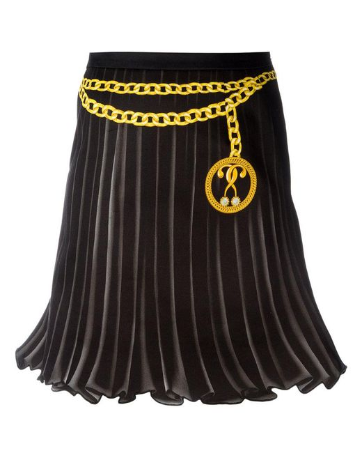 Moschino | Black Trompe-l'oeil Pleated Skirt | Lyst