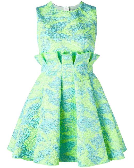 MSGM - Green Jacquard Mini Dress - Lyst