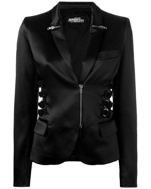 Jeremy Scott - Black Zip & Strap Detail Blazer - Lyst