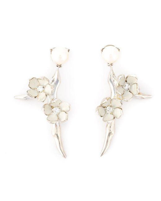 Shaun Leane | White 'cherry Blossom' Diamond Earrings | Lyst