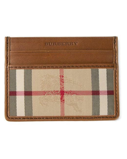 Burberry | Brown Horseferry Check Leather Cardholder for Men | Lyst