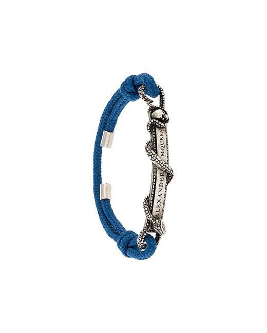 Alexander McQueen - Blue Snake Logo Plaque Bracelet - Lyst