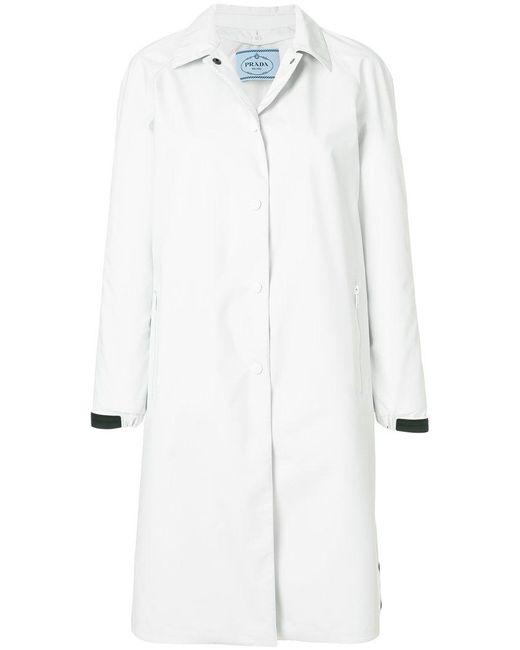 Prada - White Logo Cuff Coat - Lyst