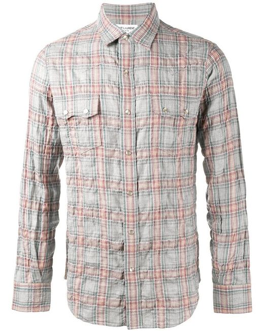 saint laurent rinse check shirt in grey for men lyst ForSaint Laurent Check Shirt