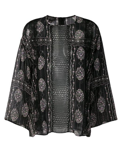 499644397e Giambattista Valli - Black Sheer Floral Panel Top - Lyst ...