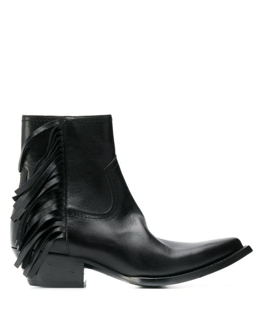 Saint Laurent Black Lukas Fringed Boots