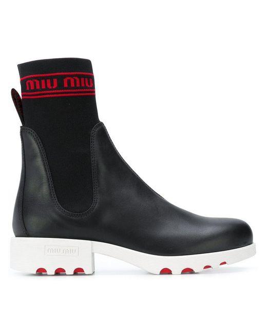 Miu Miu - Black Knit Logo Boots - Lyst