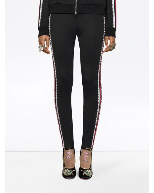 ab241d606d02 ... Gucci - Black Technical Jersey Stirrup Leggings With Crystals - Lyst ...