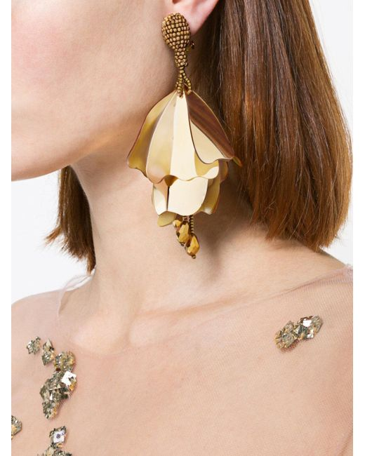 Oscar De La Renta plastic tulip earring - Metallic J8yya6