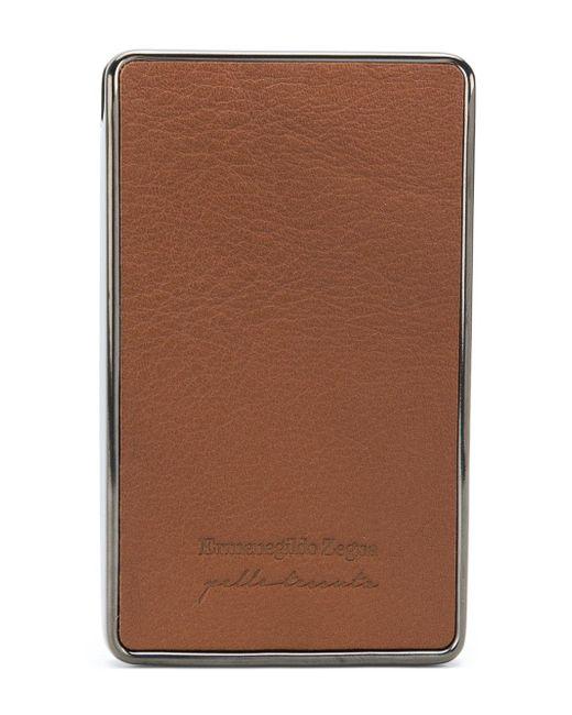 Ermenegildo zegna woven business card holder in brown for men lyst ermenegildo zegna brown woven business card holder for men lyst reheart Images