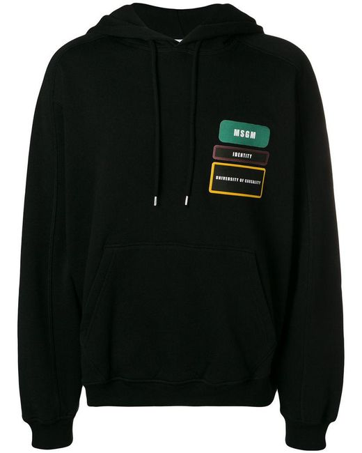 MSGM - Black Badge Patch Hoodie for Men - Lyst