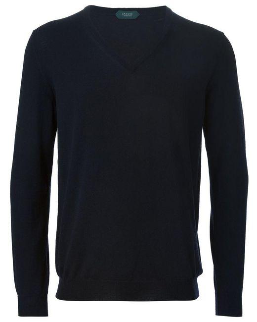Zanone - Blue V-neck Sweater for Men - Lyst