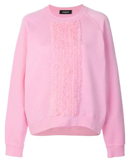 DSquared² - Pink Ruffle Trimmed T-shirt - Lyst