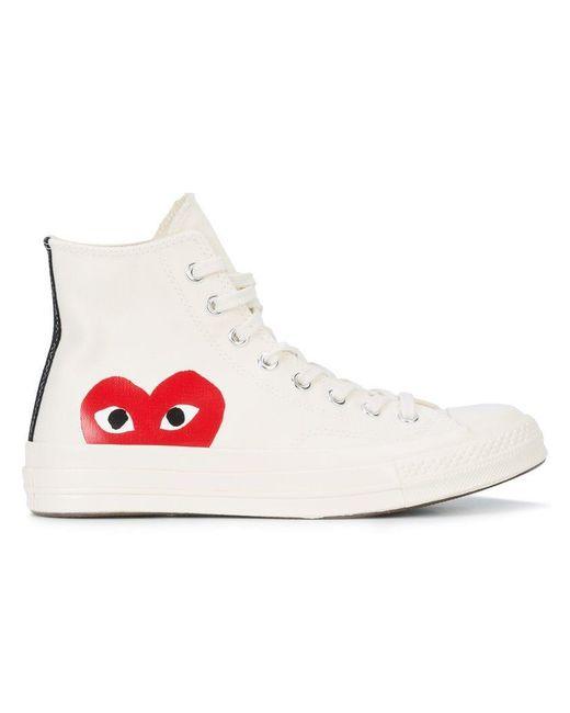 COMME DES GARÇONS PLAY - White Comme des Garcons Play x Converse Chuck Taylor Sneakers - Lyst
