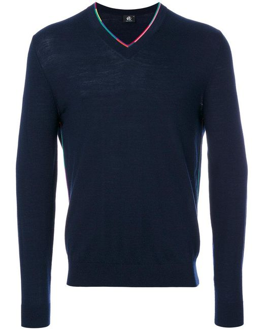 PS by Paul Smith | Blue Multicolour Trim V-neck Sweater for Men | Lyst