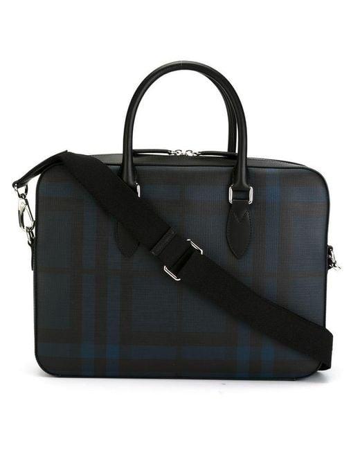 Burberry - Blue Medium Leather Trim London Check Briefcase for Men - Lyst  ... 6a075767d9934