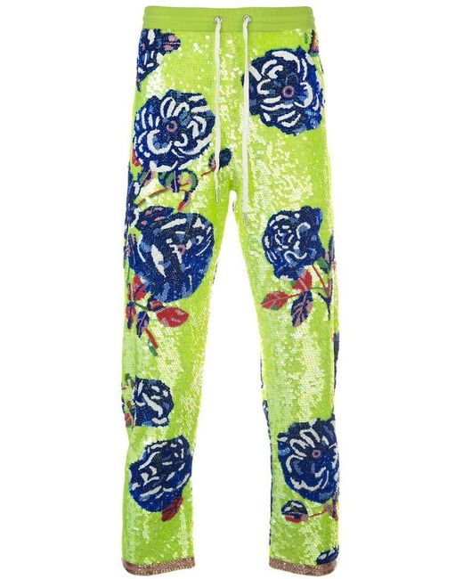 Ashish - Green Rose Sequin Trousers - Lyst