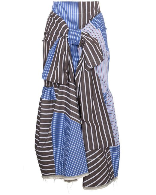 Marni - Blue Multi Striped Tie Front Skirt - Lyst