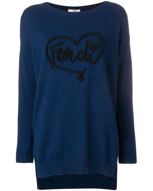 Fendi - Blue Open Your Heart Sweater - Lyst