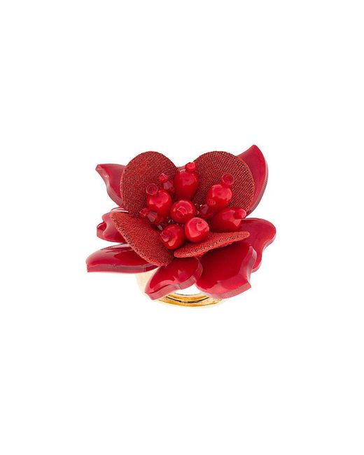 Oscar de la Renta - Red Flower Ring - Lyst