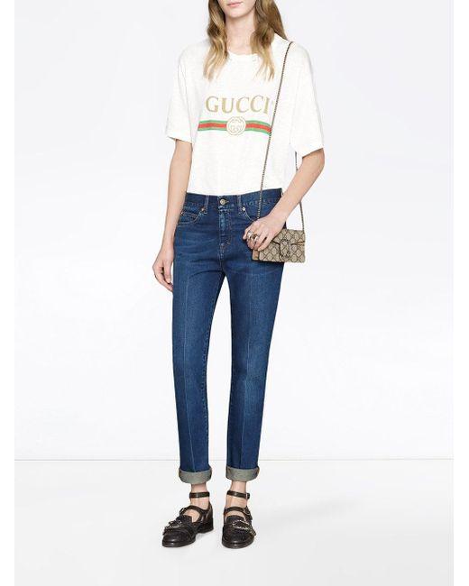 ac8356eac0b ... Gucci - Multicolor Beige Dionysus GG Supreme Super Mini Bag - Lyst ...