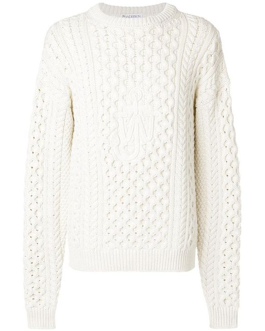 J.W. Anderson - White Cable Knit Sweater for Men - Lyst
