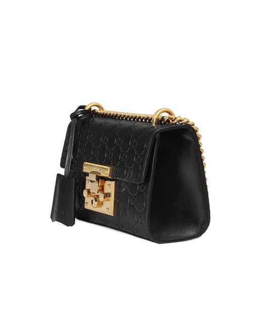 8aef3f01dc7 Gucci Padlock Signature Leather Shoulder Bag in Black - Save 44% - Lyst