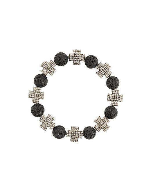 Loree Rodkin - Black Beaded Cross Bracelet - Lyst