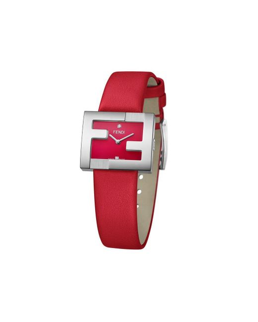 Fendi Red Ff Logo Embellished Watch
