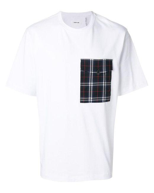 Helmut Lang - White Plaid Pocket T-shirt for Men - Lyst