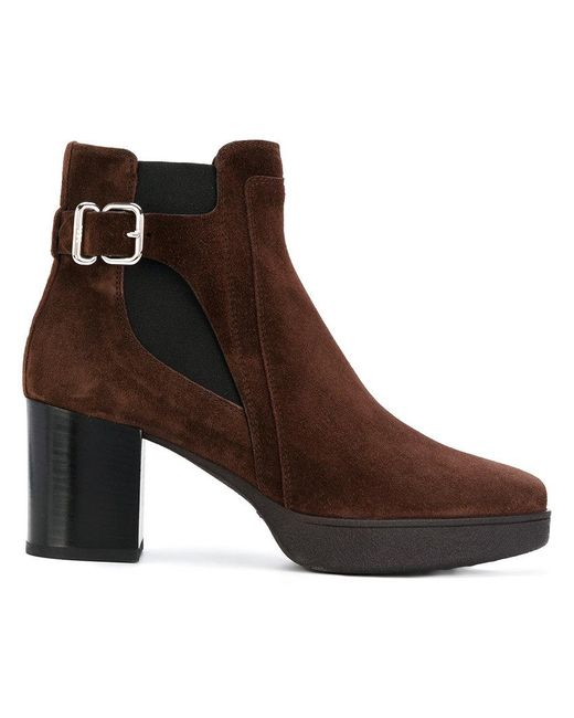 Tod's - Brown Buckle Detail Boots - Lyst