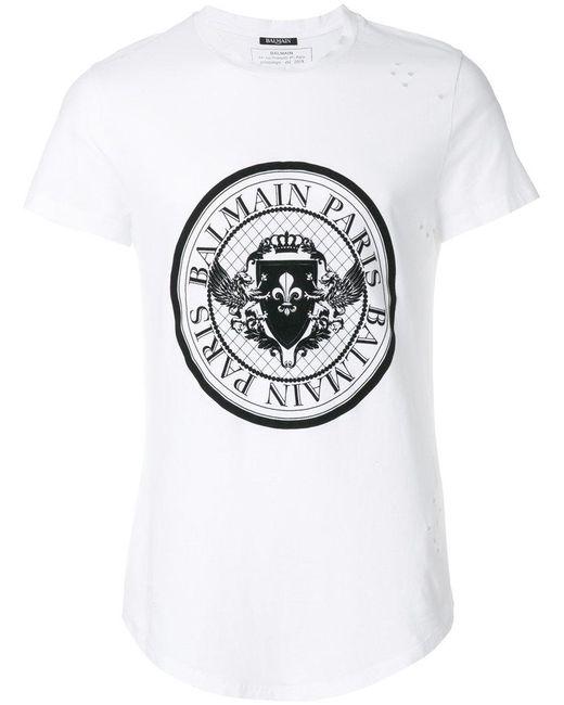 Balmain - White Logo-print T-shirt for Men - Lyst