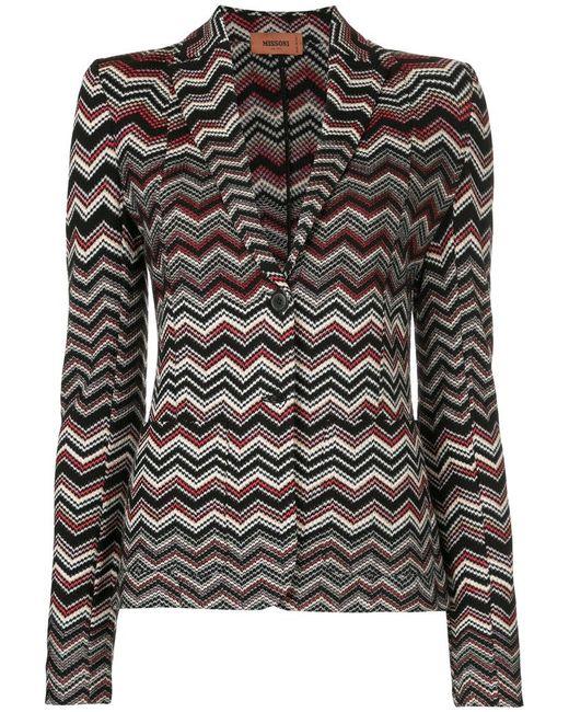 Missoni | Black Zig Zag Knitted Jacket | Lyst