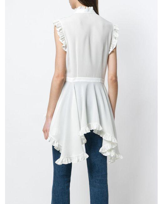 dipped hem ruffled blouse - White Alexander McQueen Finishline Cheap Online 0xE8FLZlZt
