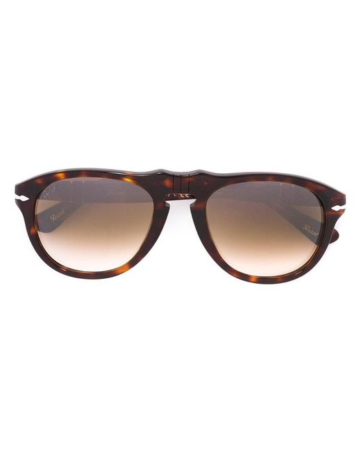 Persol - Brown Round Frame Sunglasses - Lyst
