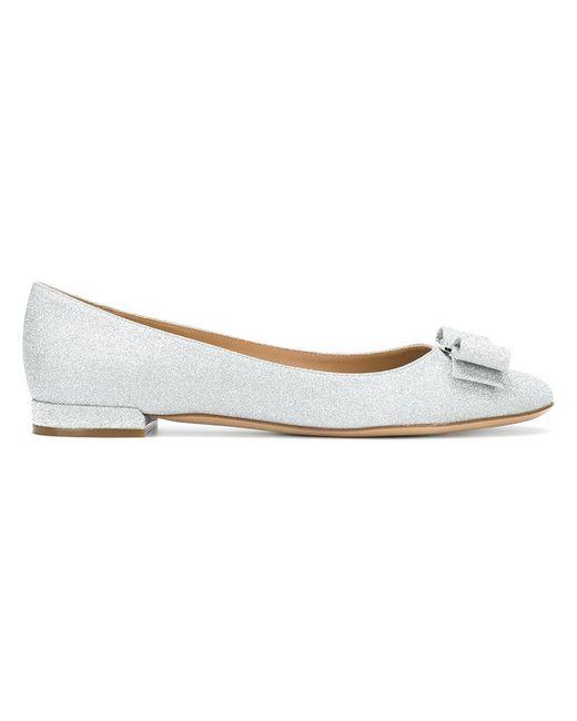 Ferragamo - Metallic Vara Bow Ballerina Shoes - Lyst