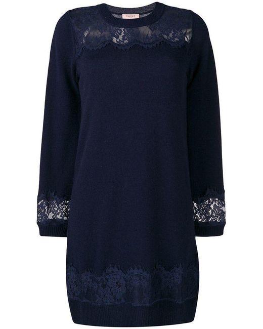 Twin Set - Blue Lace Detail Dress - Lyst