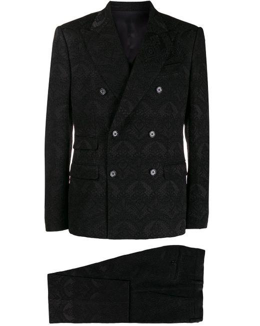 Dolce & Gabbana Black Damask Three Piece Suit for men