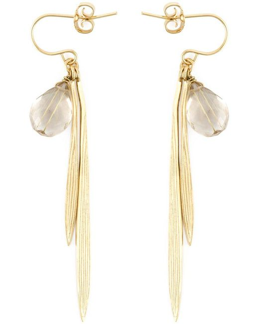 Wouters & Hendrix - White 'bamboo' Rutilated Quartz Earrings - Lyst