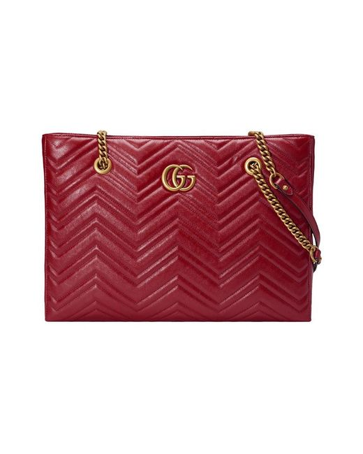 Gucci - Red Gg Marmont Matelassé Medium Tote - Lyst