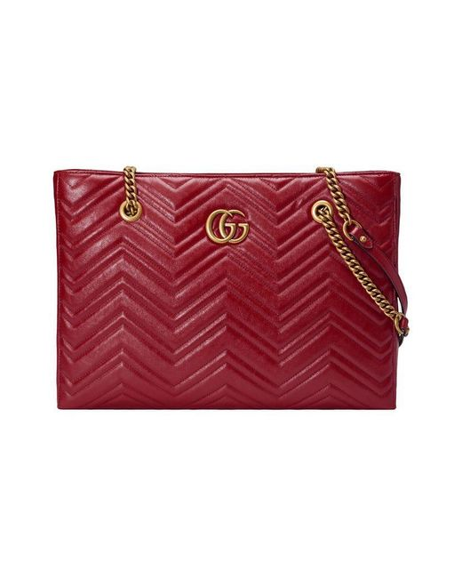 e40c02b99ea4 Gucci GG Marmont Matelassé Medium Tote in Red - Save 1% - Lyst