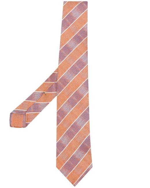 Kiton Orange Diagonal Pattern Tie for men